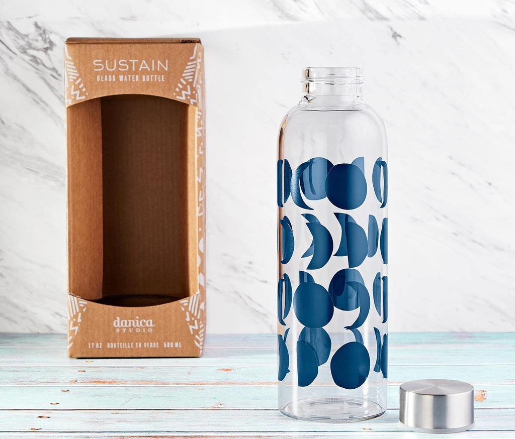 Sustain Ink Glass Water Bottle