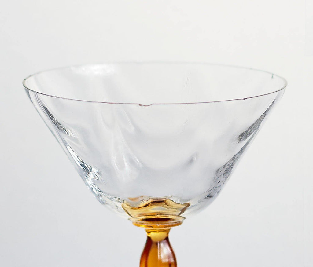 Hollywood Gold Martini Glass: Set of 4 - Vintage Fostoria - lollygag