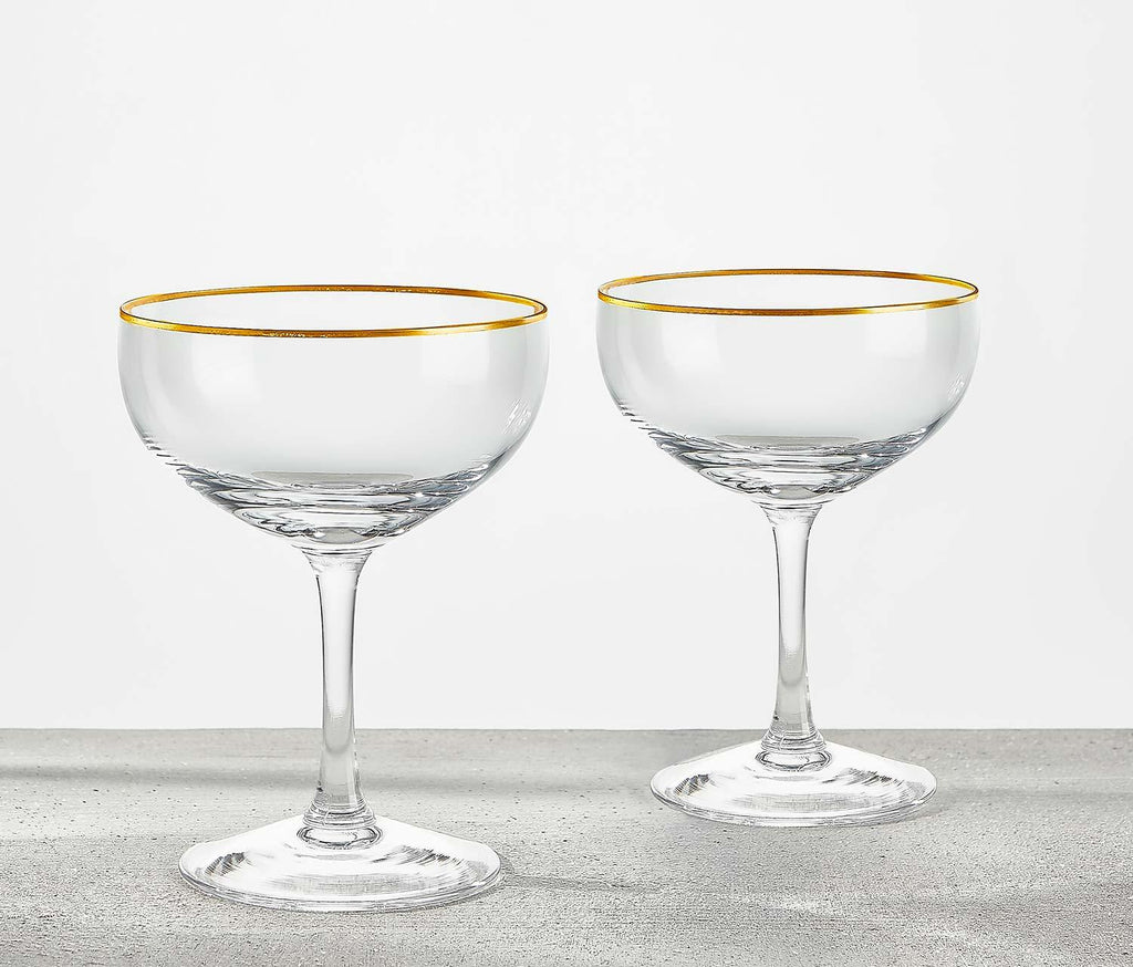 vintage Goldie Champagne Coupe Glasses