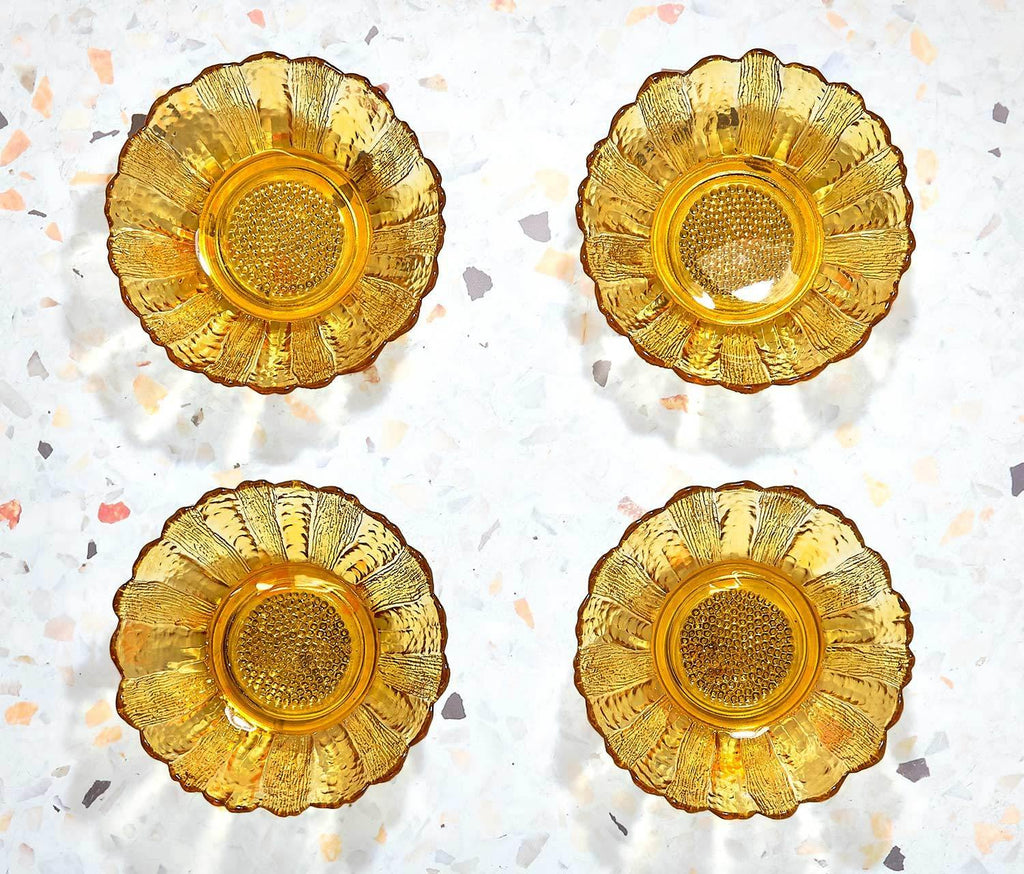 Hollywood Gold Fluted Dessert Bowls : Vintage Set of 4 - lollygag