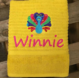 Towel With Embroidered Name + Picture