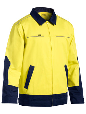 Bisley 2 Tone Hi Vis Cotton Drill Jacket