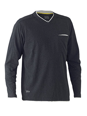 Bisley Cotton Rich V Neck Long Sleeve Tee
