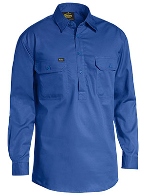 Bisley Closed Front Cotton Lightweight Drill Shirt - Long Sleeve