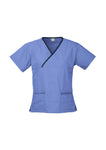 Ladies Contrast Crossover Scrubs Top