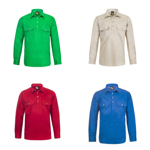 5 Lightweight Long Sleeve Half Placket Cotton Drill Shirts