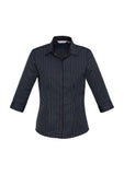 Biz Ladies Reno Stripe 3/4 Sleeve Shirt