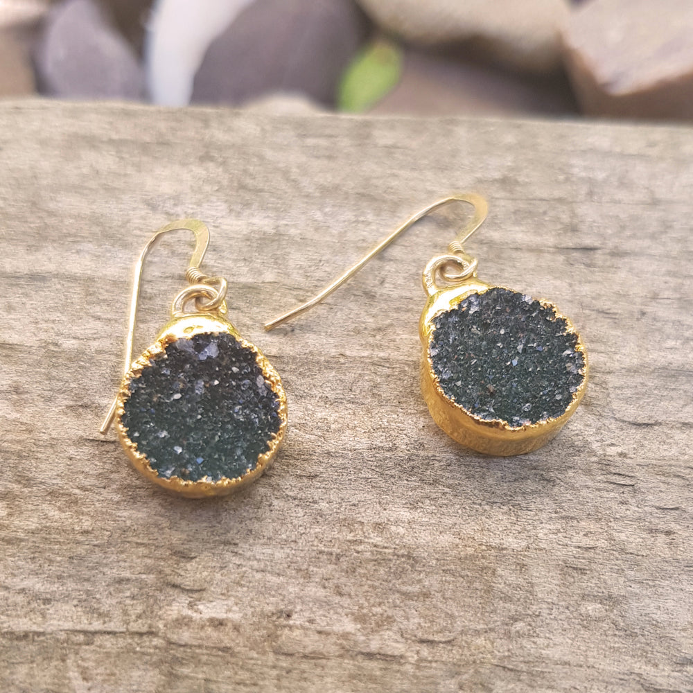 Gold plate black Quartz Druzy circular earrings