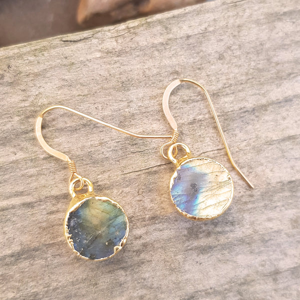 Gold plate Labradorite circular earrings