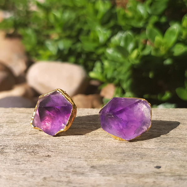 Gold plate Amethyst stud earrings