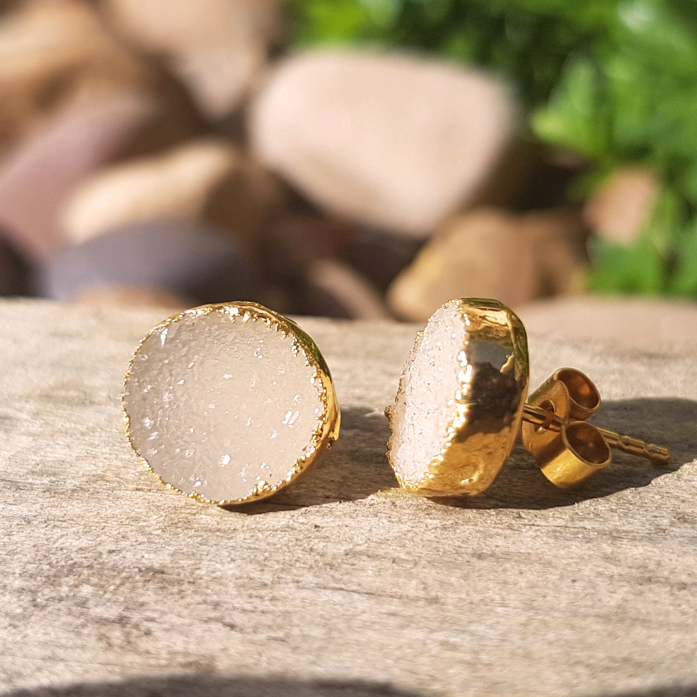 Gold Plate Quartz Druzy Stud Earrings
