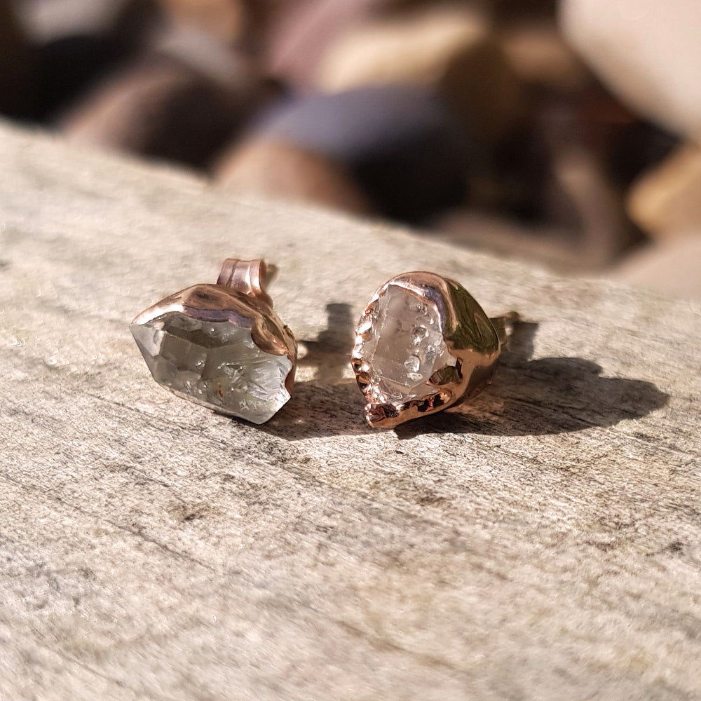 Rose gold plate herkimer stud earrings