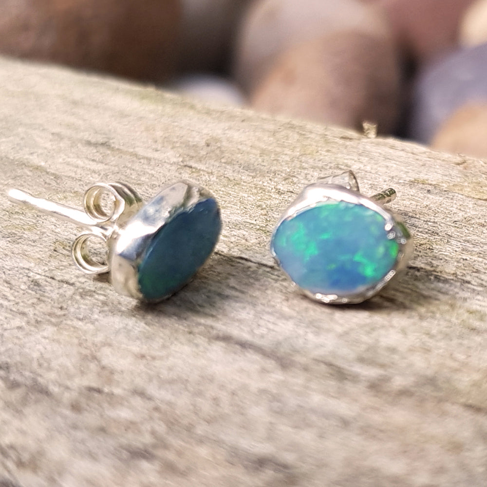 Sterling silver plate opal stud earrings