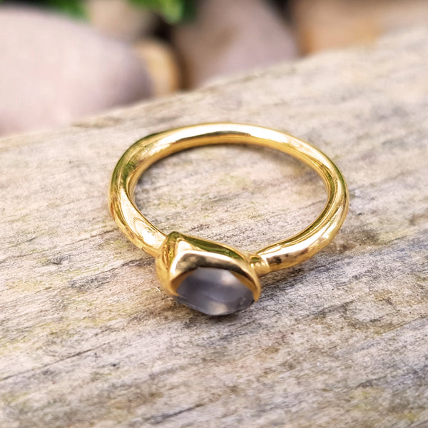 Gold plate Smokey Quartz stacking ring, Size K