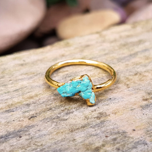 Gold plate Turquoise stacking ring, Size N