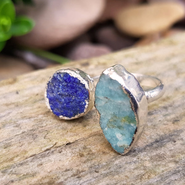 Sterling silver plate Aquamarine and Lapis Lazuli double ring, Size N