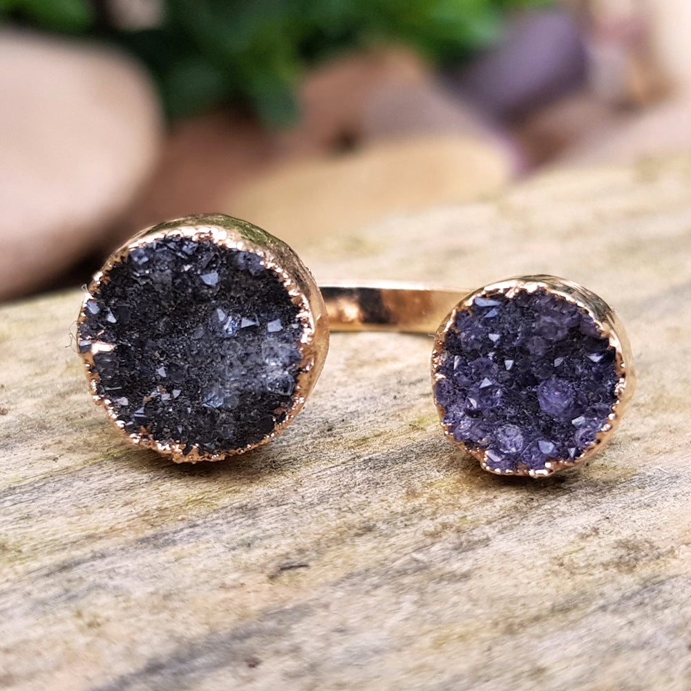 Rose gold plate Amethyst double ring, Size I