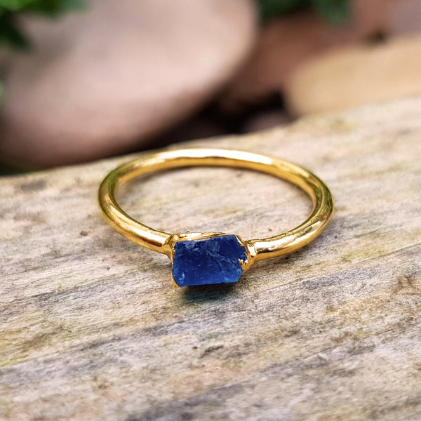 Gold plate Apatite stacking ring, Size O