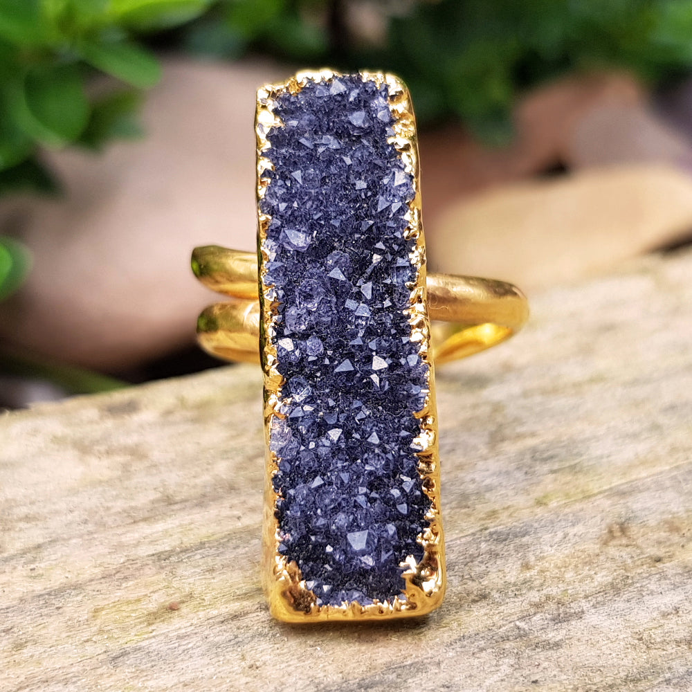 Gold plate adjustable Amethyst ring, Size S - T