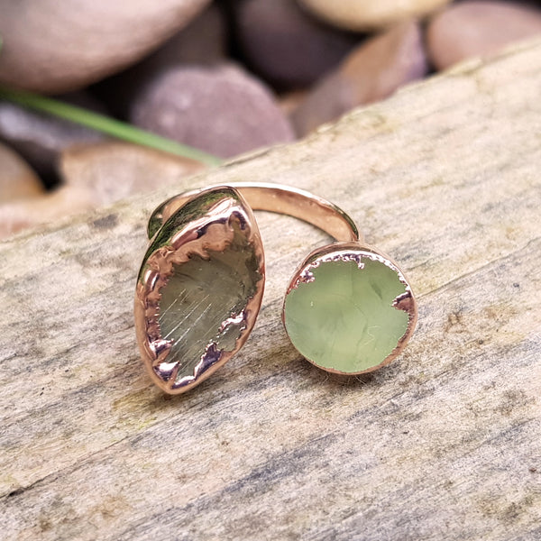 Rose gold plate Agate double ring, Size O
