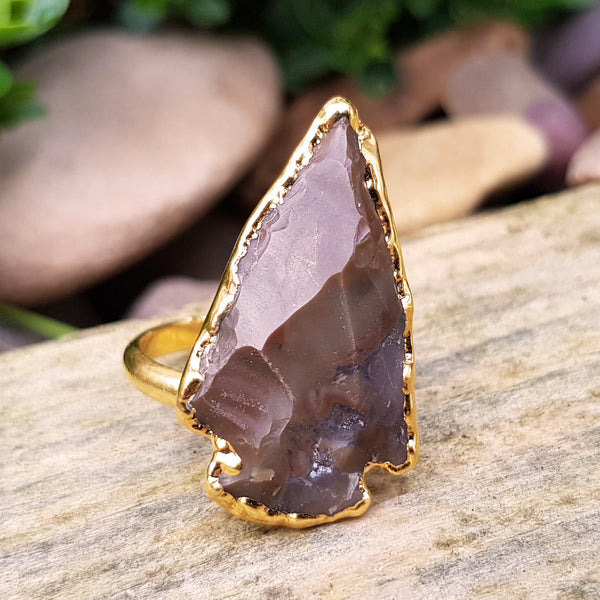 Gold plate adjustable dark brown jasper arrowhead ring, UK M - O