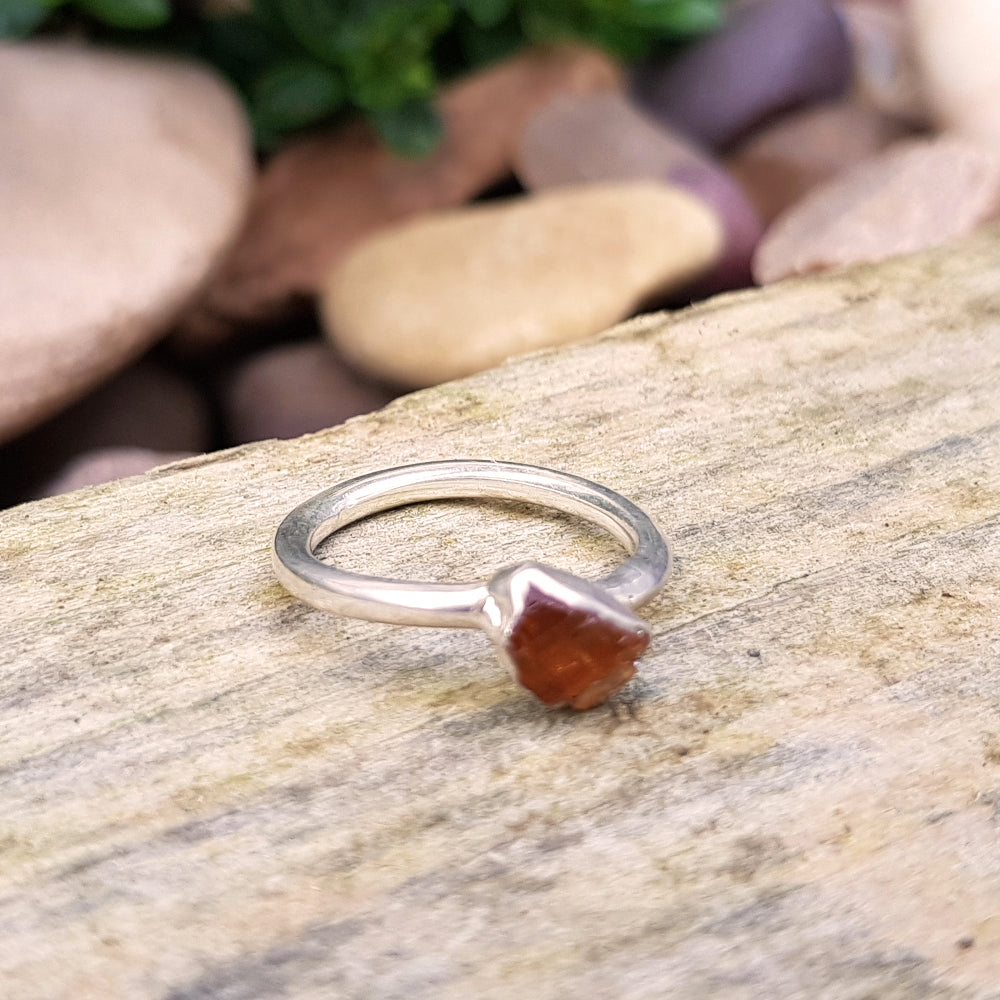 Sterling silver plate Citrine stacking ring, Size I