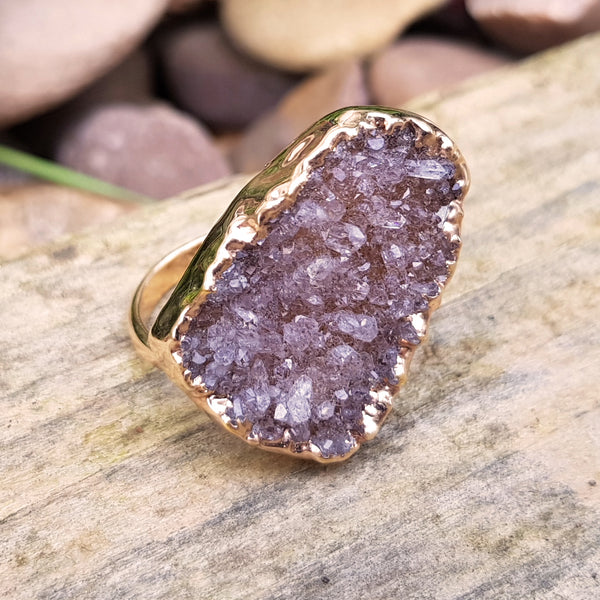 Rose gold plate adjustable mocha coloured Quartz ring, UK P - Q