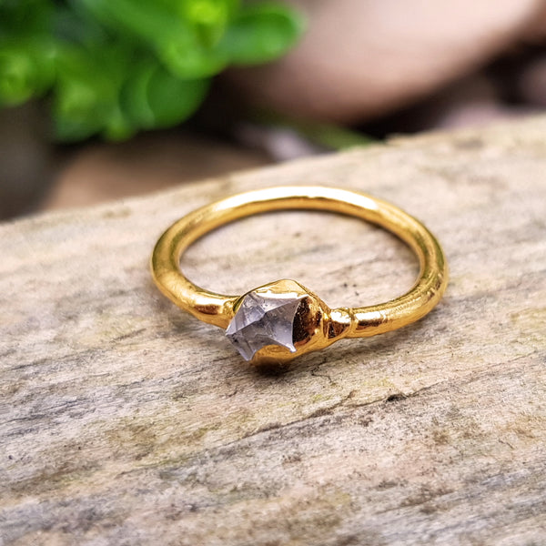 Gold plate Herkimer Diamond stacking ring, Size J