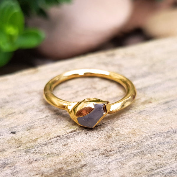 Gold plate Amethyst stacking ring, Size J-K