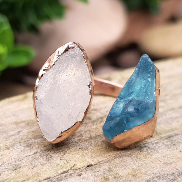 Rose Gold Plate Aquamarine and Moonstone double ring, Size G