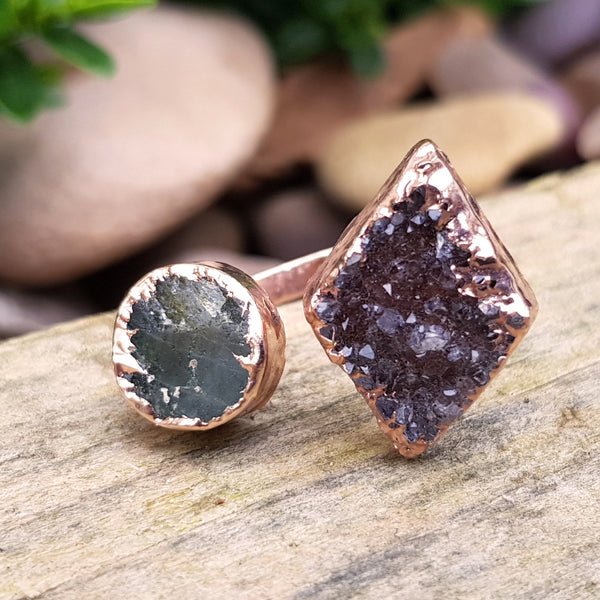 Rose gold plate Labradorite and smoky Quartz Druzy double ring, UK N