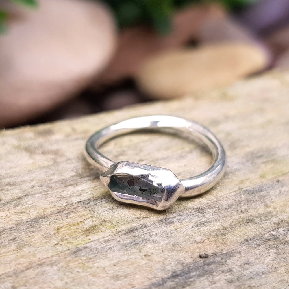 Sterling silver plate Herkimer Diamond ring, Size I 1/2