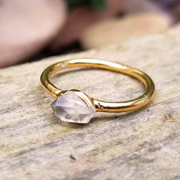 Gold plate Herkimer Diamond stacking ring, Size P
