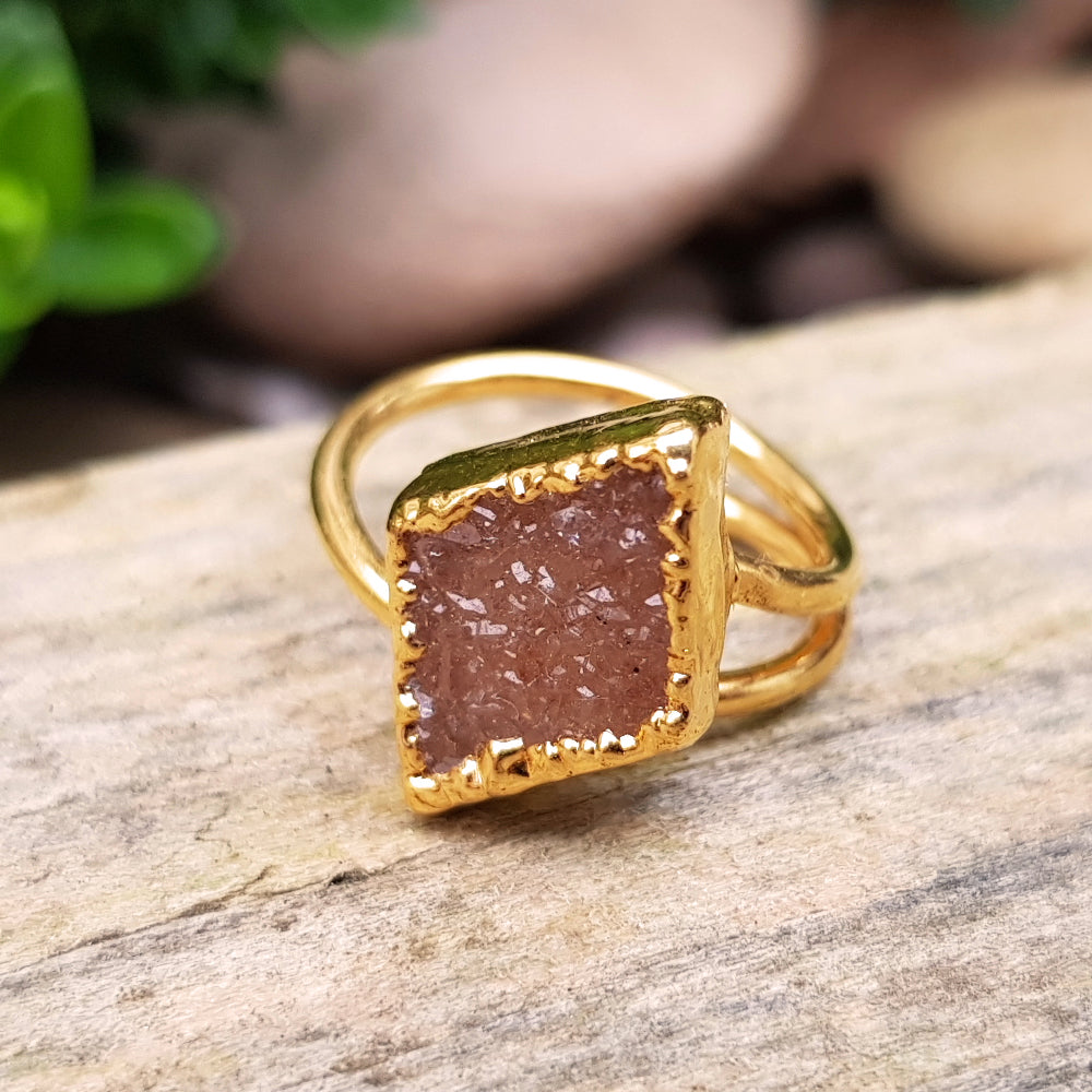 Gold plate adjustable diamond shaped Citrine druzy ring, Size M - O