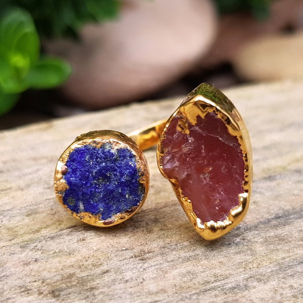 Gold plate Lapis Lazuli and Carnelian double ring, Size M