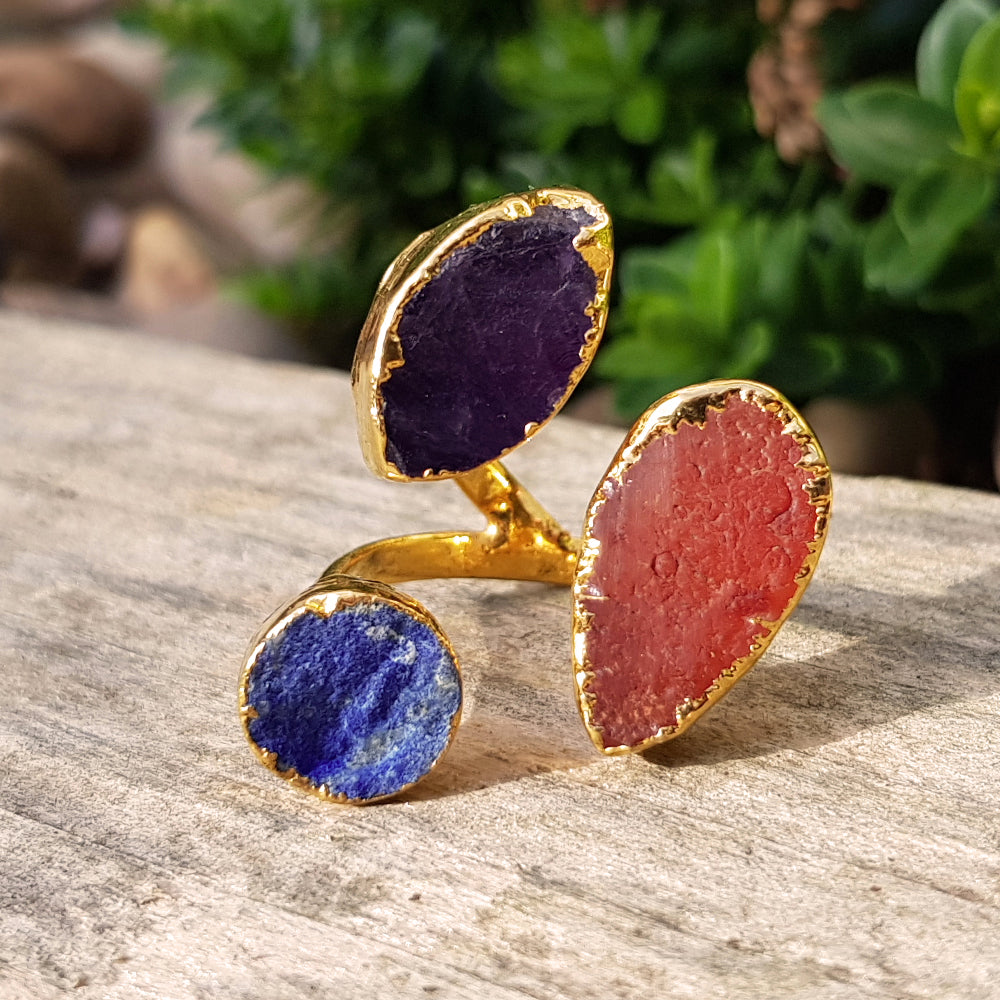 Gold plate, Lapis Lazuli, Carnelian and Amethyst triple ring, Size P