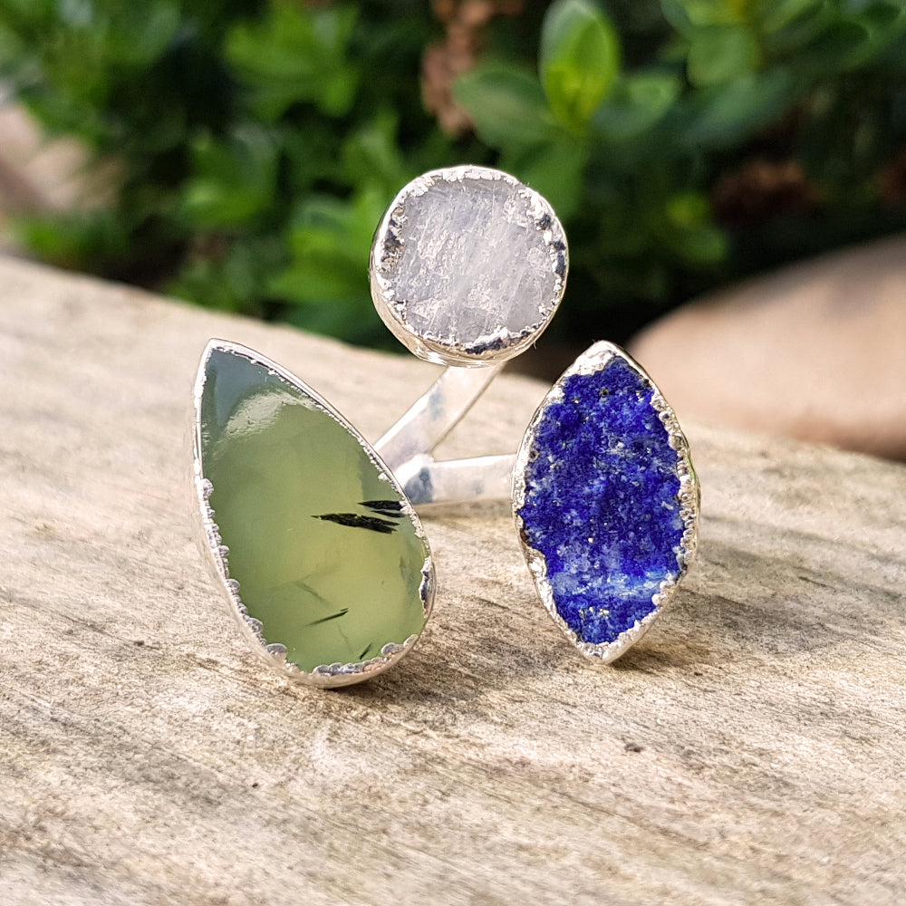 Sterling silver plate, moonstone, green agate and lapis lazuli triple ring