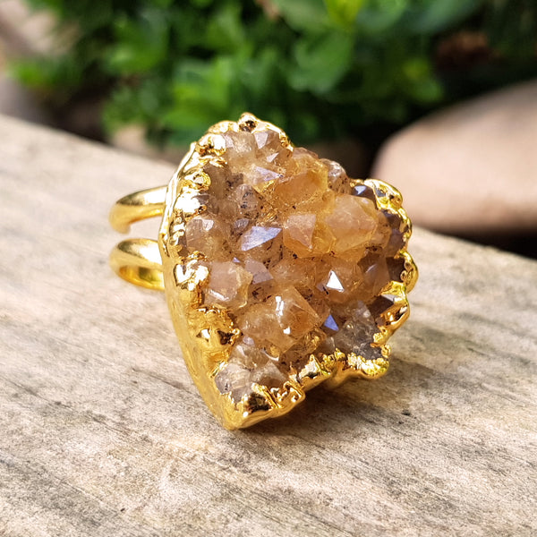 Gold plate adjustable irregular shaped Citrine ring, Size N - P