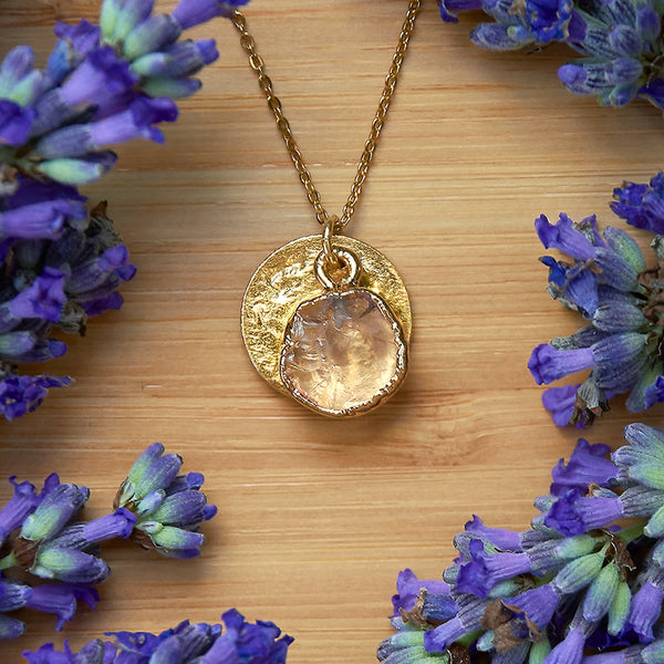 Gold Rose Quartz Infinity Pendant