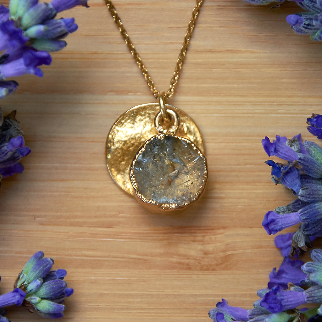 Gold Tourmalinated Quartz Infinity Pendant