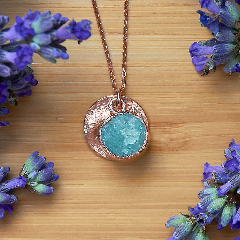 Rose Gold Amazonite Infinity Pendant