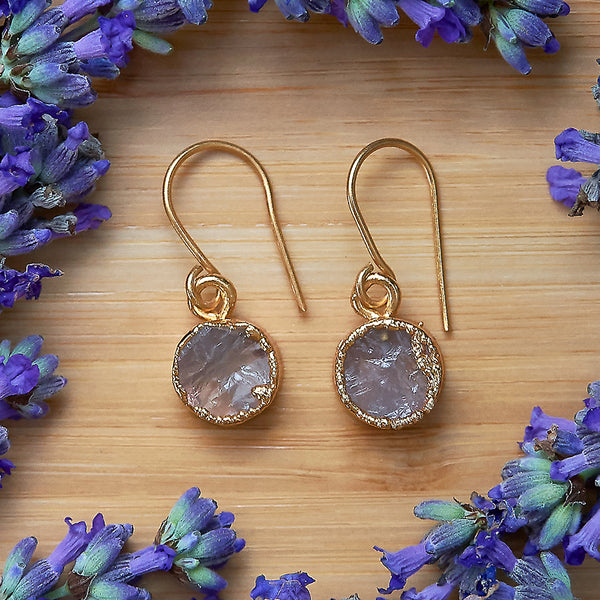 Gold Rose Quartz Infinity Drop Earrings
