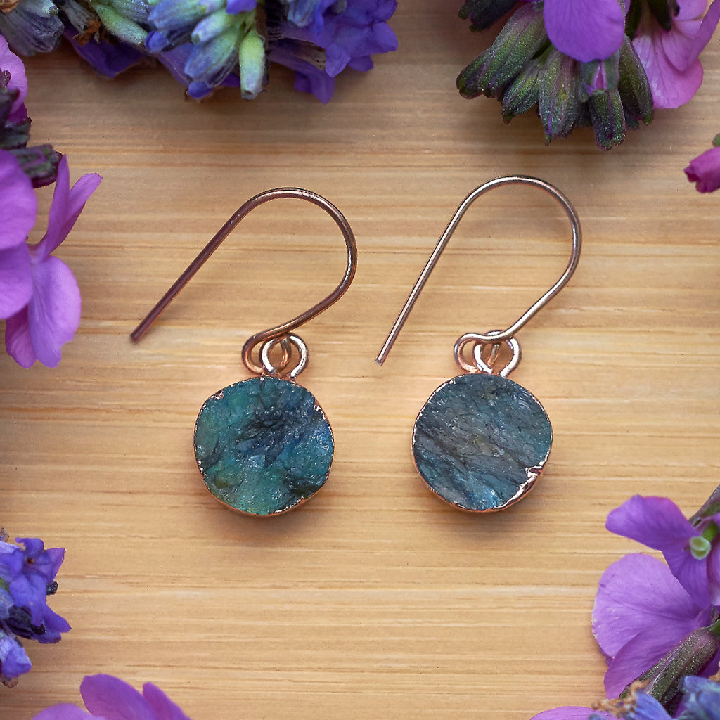 Rose Gold Labradorite Infinity Drop Earrings