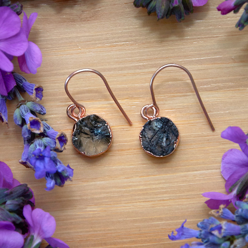 Rose Gold Tourmalinated Quartz Infinity Drop Earrings