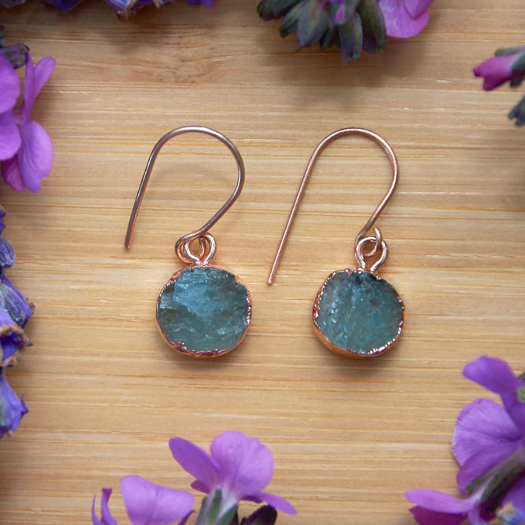 Rose Gold Aquamarine Infinity Drop Earrings