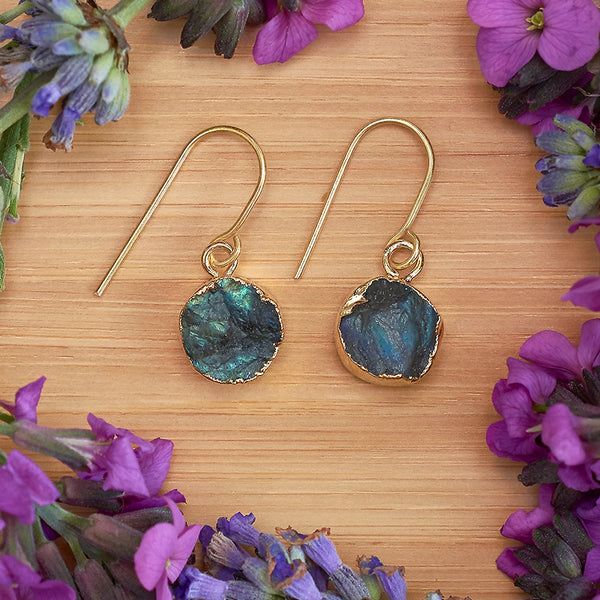 Gold Labradorite Infinity Drop Earrings