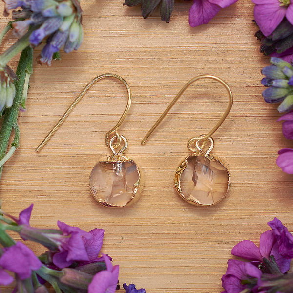 Gold Citrine Infinity Drop Earrings