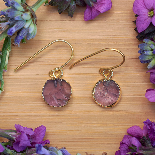 Gold Amethyst Infinity Drop Earrings