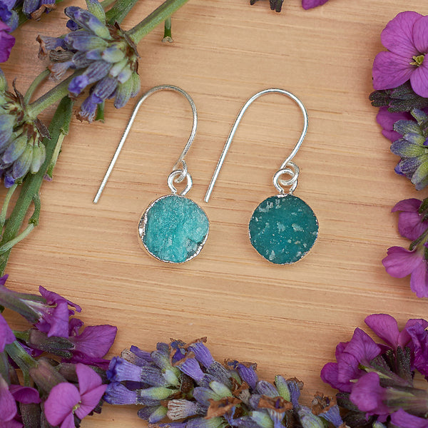 Silver Amazonite Infinity Drop Earrings