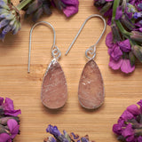 Silver Rose Quartz Teardrop Earrings